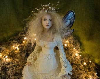 OOAK Fairy Art Doll Sculpture // Lhiannan //  Mother's Day // Gifts for her // Magic Faerie wings // Polymer clay