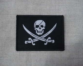 Pirate Skull Woven Patch Sew On
