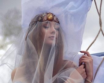 "Diadem ""Evening tales."" tiara, magic diadem, elven diadem, copper jewelry, stone crown, stone diadem, queen crown,  crown,  fairy diadem"