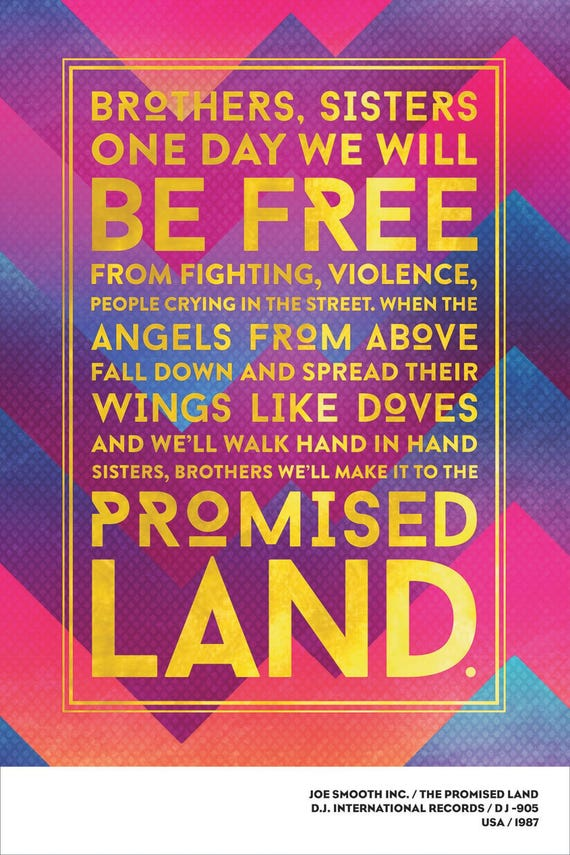 Joe Smooth Inc. Promised Land Poster 12x18. House Music