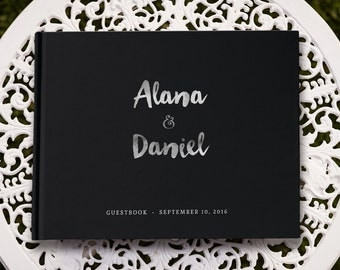 Black and Silver Wedding Guest Book, Real Silver Foil Guest Book Wedding, Black Guest Book, Black Wedding Guest Book, GB 064