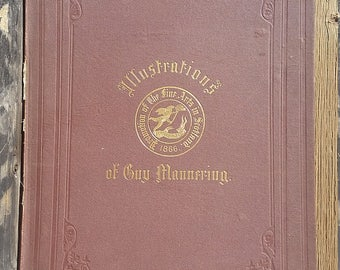Antique 1800's Illustrations of Guy Mannering Hardcover Book by Sir Walter Scott