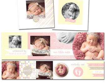INSTANT DOWNLOAD - Baby 3x3 Accordion Mini Template - Simple design, Easy to use - Mpix, Millers, PSD, Newborn - M002