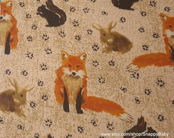 Flannel Fabric - Woodland Fox and Friends - 1 yard - 100% Cotton Flannel