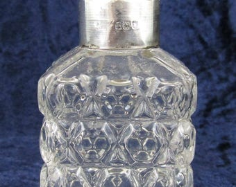 Antique Glass and Silver Collared Scent Bottle, Hobnail Pattern, Perfume Bottle, Dressing Table Bottle, Traditional, London Silver, 1905