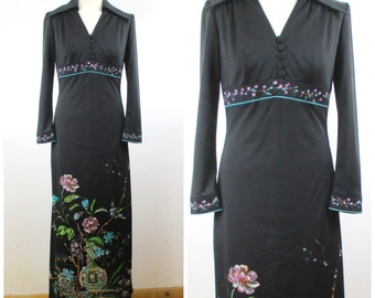 Vintage 60s 70s Black Floral Maxi Dress - Hippie Hostess V Neck Empire Waist Dress - L