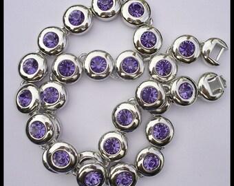 Vintage Heavy Signed Nolan Miller Glossy Purple Crystal Rhinestone Rhodium Necklace