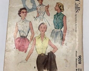 McCall 9028 Vintage 1950's Sewing Pattern: Button-Front Sleeveless Blouse with Collar Variations, Size 12 (30-25-33)