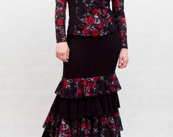 Rosa Negra Flamenco Dress, Black