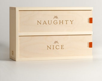 Naughty Nice Wine Box // Holiday Wine Box Gift // Christmas Wine Gift // 2-bottle wine box