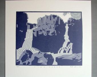 High Force // Waterfall // Reduction Linocut Print // Handmade // Original // Limited Edition