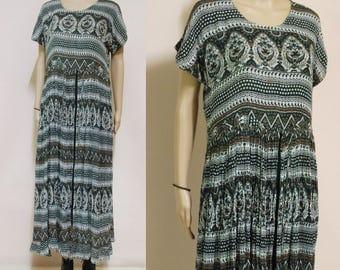 Vintage 90s Dress Gauze Boho Ethnic Hippie Long Length Cotton Festival Grunge Vtg 1990s Size S-M