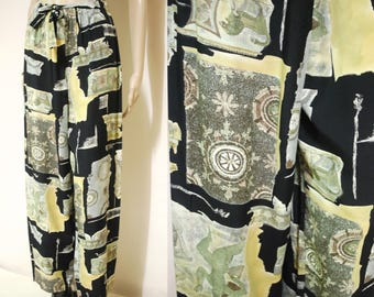 Vintage 90s Pants Yoga Boho Hippie Nautical Greek Mythology Lightweight Loose Fit Vtg 1990s Size XS-S