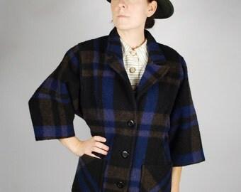 Vintage Wool Plaid Coat - Blue Plaid Coat - Fall Winter Coat - Size M
