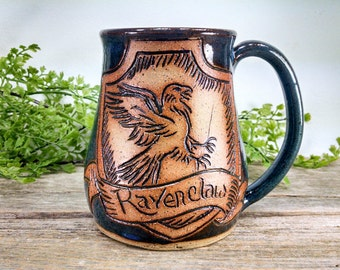 Ravenclaw Mug - 16 oz Bright Blue Wheel Thrown Hand Carved Coffee Cup
