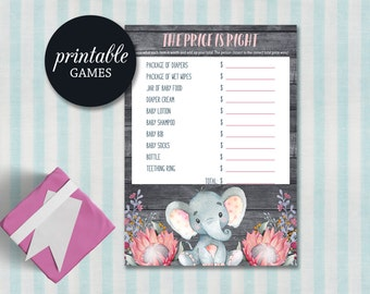 Price is Right Baby Shower Game, Elephant Girl Baby Shower Game, Elephant Baby Shower Games, Printable Price is right game Elephant