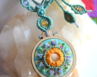 """Hand embroidery macramè necklace """"Indian vibe"""" with Agate, Turquoise, Amethyst beads, shisha mirror Boho Gypsy Festival Hippie Indian"""
