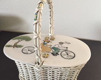 Wearable Art, Wearable Art Handbag, Woven Handbag, Bicycle Built for Two