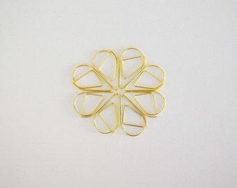 Gold Tear Drop Shape Paper Clips - 10 pcs