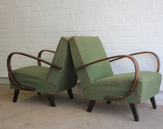A Pair Of Jindrich Halabala Model 2 Lounge Chairs Circa 1940's