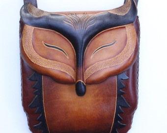 handmade leather fox purse