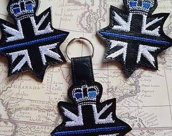 Union Jack - POLICE Support - UK - London - Law Enforcement - In The Hoop - Snap/Rivet Key Fob - DIGITAL Embroidery Design