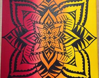 Mandala Wall Hanging Flower Wall Art Mandala Painting Flower Mandala Original Acrylic 10x10