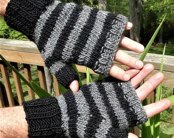 Fingerless Gloves Men's Handknit Gray and Black Striped Merino Wool & Mohair Fingerless Gloves Men's Striped Handwarmers Fingerless Gloves