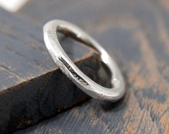 Rustic Wedding Round Ring, Hammered solid silver band, thick round hammered ring, textured silver wedding band