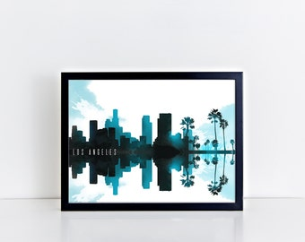 LOS ANGELES skyline print / cityscape Los Angeles wall art / poster. Instant Download