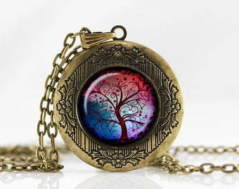 Tree of life Locket Necklace Tree of life jewelry Personalized Photo Locket Customized with your Photo pendant  photo locket necklace