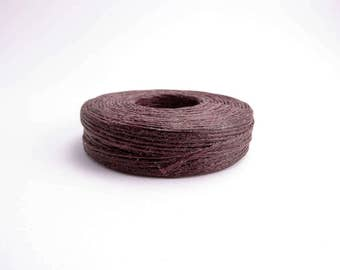 Brown Waxed Linen 50yd, 4ply Linen Thread, 4ply Waxed Linen, Waxed Linen Cord, Knotting Cord, Macrame Cord, Jewellery Cord LIN0001