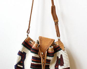 South American Woven Textile and Tooled Leather Cross Body Bucket Bag