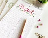 Floral Watercolor Birthday Calendar, Spiral Binding, Perpetual Calendar, Handmade, Botanical Hand Painted Illustration, Gift for Her