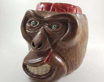 Handmade tiki mug MONKEY for bars and personal use by j.d.art