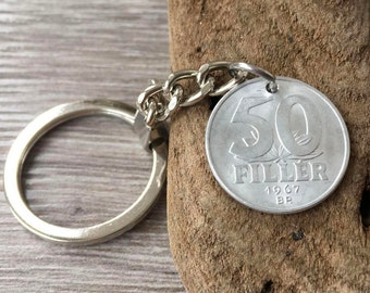 50th birthday gift, 1967 Hungary coin keyring, Hungarian keychain, key fob, bag charm, purse charm, present for him, man, her, woman,