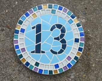 Mosaic house number, made to order with variety of sizes, colours and themes available (chat on convo to discuss)