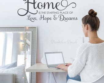Wall Decal - Home Is The Starting Place - Living Room Decal - Living Room Decor - Home Quote Wall Decal