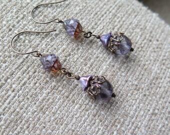purple earrings, Victorian earrings, baroque earrings, floral earrings, lavender earrings, petite earrings, romantic earrings, jewelry gift