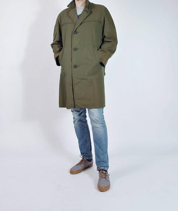 SALE 40% OFF - 70s Wet Wind Cotton Cotton Khaki Cameleon Trench Coat / Size L/XL