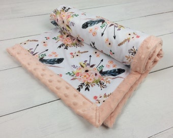 Baby blanket, Minky blanket, floral blanket feather blanket, Pink peach blanket, baby shower gift birth, girl blanket personalized blanket