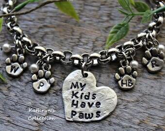 Dog Mom Bracelet, Cat Mom Bracelet, Paw Print Bracelet, Fur Baby Bracelet, See all five photos - read listing details