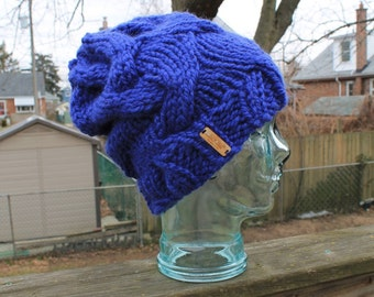 COBALT Cable Knit Adult Slouchy Winter Beanie