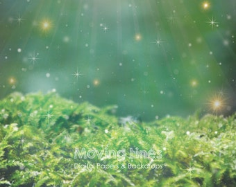 Enchanted Forest Backdrop, Newborn Photography Backdrop, Fairy Woods Wallpaper, Outdoor Photo Prop, Magic Moss 2feet