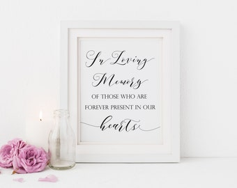 In Loving Memory Sign, In Loving Memory In our Hearts Printable, Wedding In Memory Sign, Wedding Memorial Sign, Instant Download. WC3