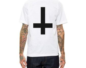 Antichrist T shirt Large upsidedown cross, Anarchist T shirt, Punk shirt