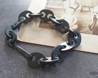 Victorian Mourning vulcanite chain bracelet - Mourning bracelet, vulcanite bracelet, vulcanite jewelry, vulcanite jewellery, ebonite