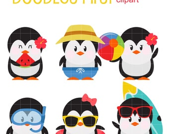 Summer Penguins Clip Art for Scrapbooking Card Making Cupcake Toppers Paper Crafts