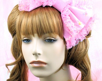 Lolita head bow-pink bow-cabochons-fairy kei-kawaii-kawaii bow-kawaii accessory-lolita accessory-rainbow-iridescent-hair bow-pink-headband