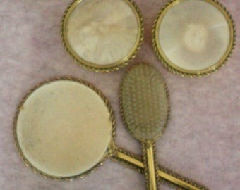 Vanity Set with Brush, Mirror and 2 Matching Trinket or Dresser Boxes - 5365
